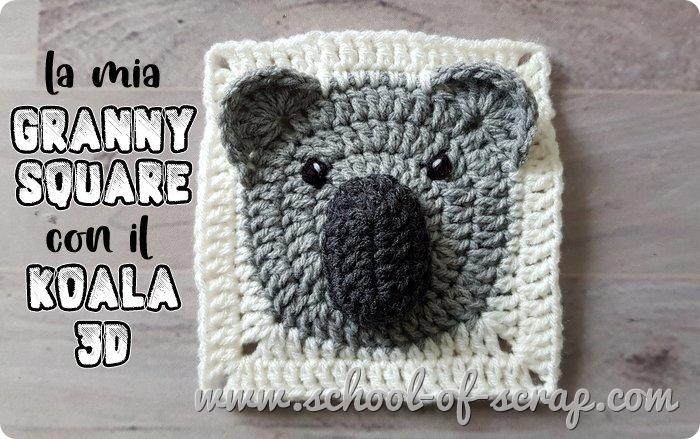 Uncinetto mattonelle granny square con animali 3D il koala