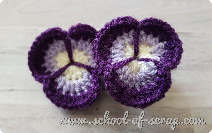 Uncinetto - video tutorial del fiore viola del pensiero pansy flower a crochet