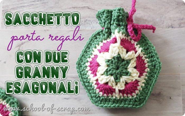 Sacchettino confezione regalo bomboniera con granny esagonale African Flower