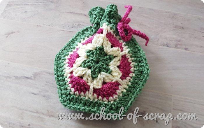 Sacchetto confezione regalo bomboniera con granny esagonale African Flower