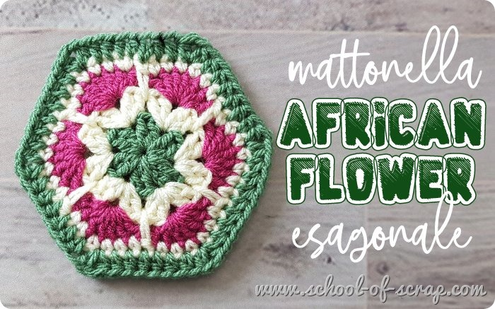Uncinetto facile mattonella granny esagonale african flower