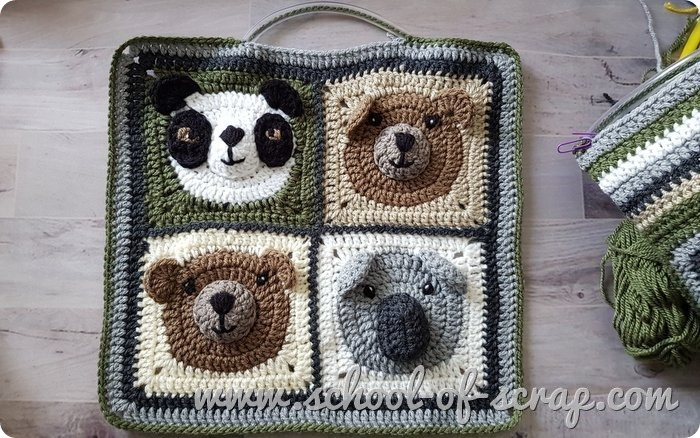 Idee uncinetto come fare una borsa facile con le mattonelle granny square - davanti