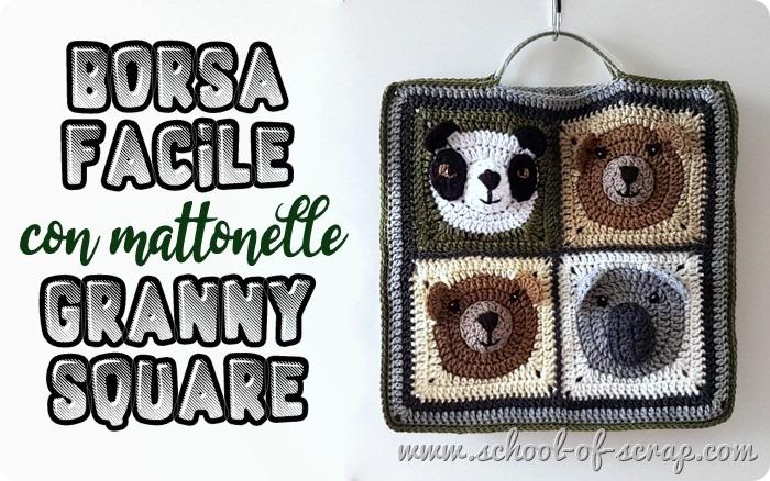 Idee uncinetto come fare una borsa facile con le mattonelle granny square