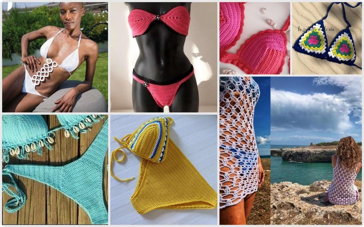 Passione uncinetto 7 modelli di bikini, costumi da bagno e copricostume da copiare a crochet