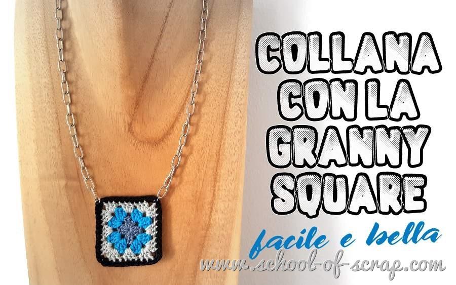 Bijou all'uncinetto video tutorial collana con mattonella granny square