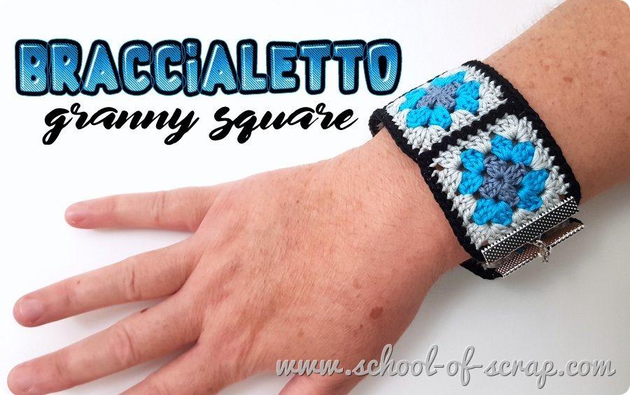 Uncinetto facile video tutorial braccialetto con mattonelle granny square