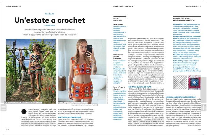 Uncinetto trend dell'estate 2021 il ritorno del crochet è su tutte le riviste e ci sono anch'io su Donna Moderna