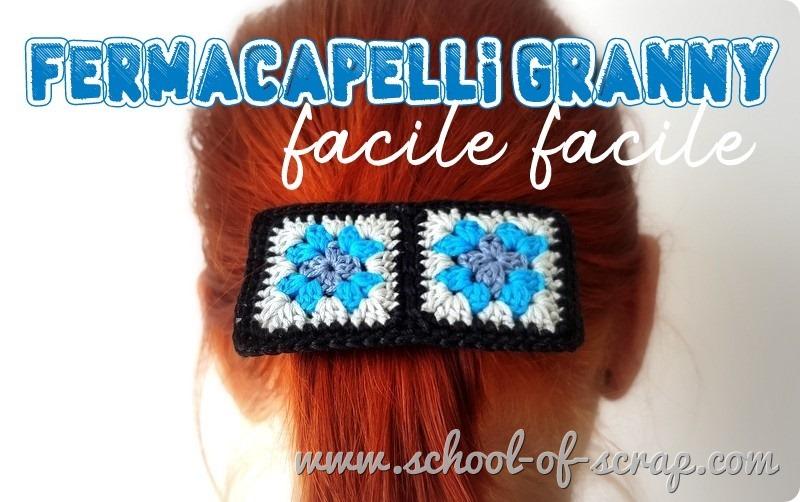 Accessori crochet fermacapelli con mattonelle granny square all'uncinetto
