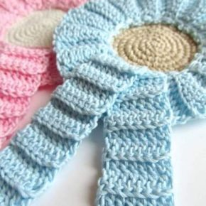 Pattern spiegazione per realizzare la coccarda - fiocco nascita a crochet